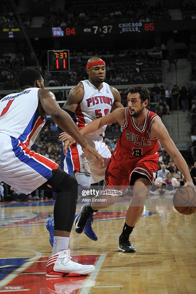Marco Belinelli #8 of the Chicago Bulls handles the ball against the Detroit Pistons on December 7, 2012 at The Palace of Auburn Hills in Auburn Hills, Michigan.