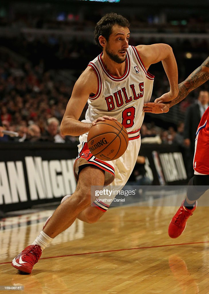 <a gi-track='captionPersonalityLinkClicked' href=/galleries/search?phrase=Marco+Belinelli&family=editorial&specificpeople=847592 ng-click='$event.stopPropagation()'>Marco Belinelli</a> #8 of the Chicago Bulls moves against the Los Angeles Clippers at the United Center on December 11, 2012 in Chicago, Illinois. The Clippers defeated the Bulls 94-89.