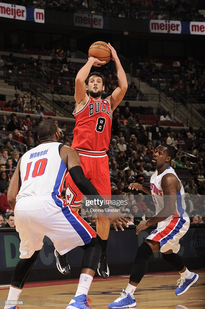 Marco Belinelli #8 of the Chicago Bulls takes a jump shot against the Detroit Pistons on December 7, 2012 at The Palace of Auburn Hills in Auburn Hills, Michigan.