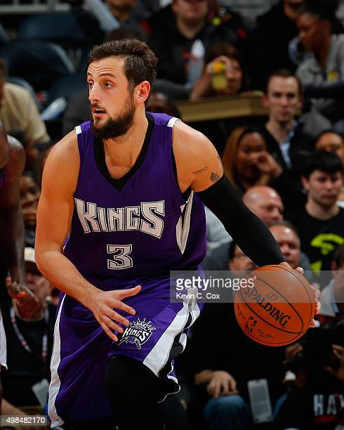 Marco Belinelli of the Sacramento Kings against the Atlanta Hawks at Philips Arena on November 18 2015 in Atlanta Georgia NOTE TO USER User expressly...