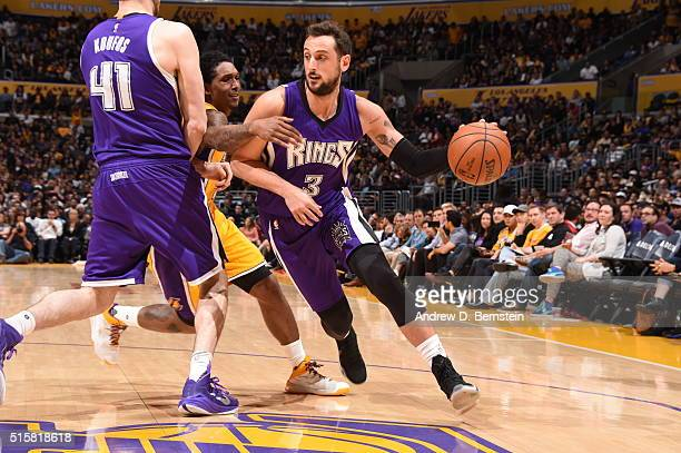 Marco Belinelli of the Sacramento Kings drives to the basket against the Los Angeles Lakers on March 15 2016 at STAPLES Center in Los Angeles...