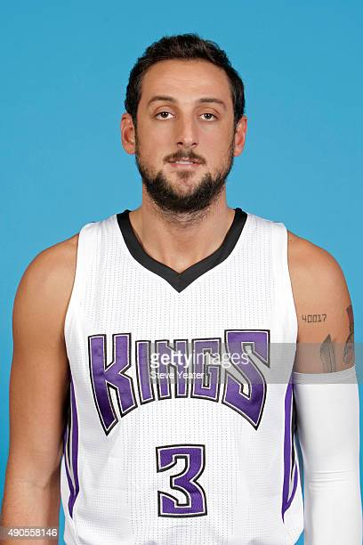 Marco Belinelli of the Sacramento Kings poses for a head shot on media day September 28 2015 at the Kings practice facility in Sacramento California...