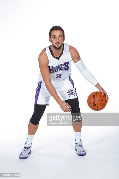 Marco Belinelli of the Sacramento Kings poses for a photo on media day September 28 2015 at the Kings practice facility in Sacramento California NOTE...