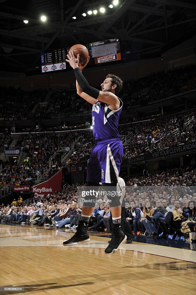 <a gi-track='captionPersonalityLinkClicked' href=/galleries/search?phrase=Marco+Belinelli&family=editorial&specificpeople=847592 ng-click='$event.stopPropagation()'>Marco Belinelli</a> #3 of the Sacramento Kings shoots against the Cleveland Cavaliers on February 8, 2016 at Quicken Loans Arena in Cleveland, Ohio.
