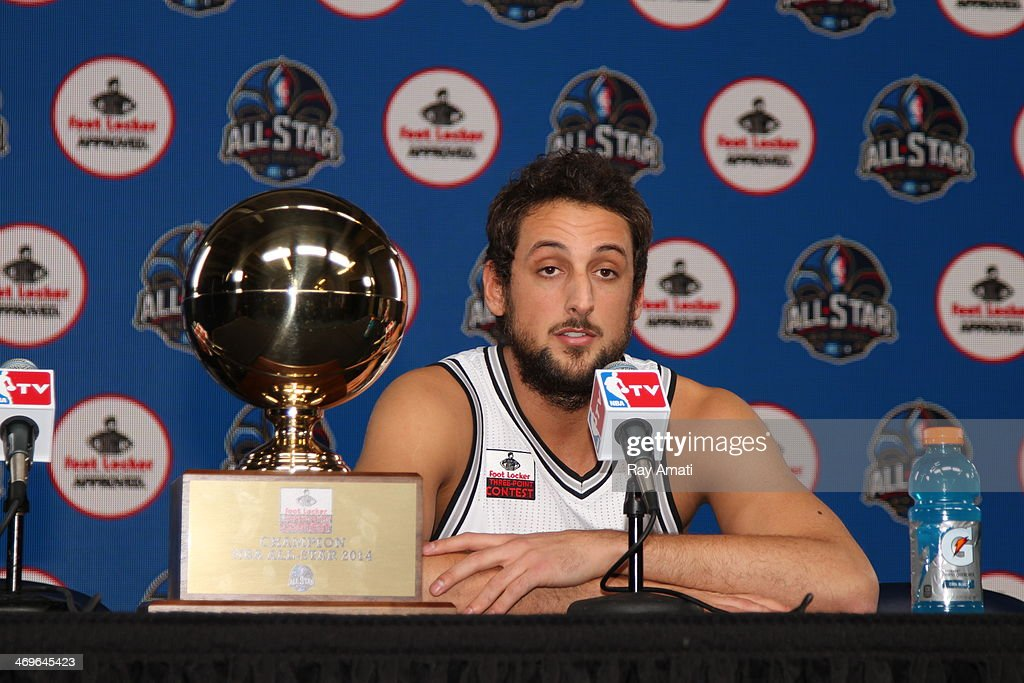 <a gi-track='captionPersonalityLinkClicked' href=/galleries/search?phrase=Marco+Belinelli&family=editorial&specificpeople=847592 ng-click='$event.stopPropagation()'>Marco Belinelli</a> #8 of the San Antonio Spurs addresses the media during State Farm All-Star Saturday Night as part of the 2014 All-Star Weekend at Smoothie King Center on February 15, 2014 in New Orleans, Louisiana.