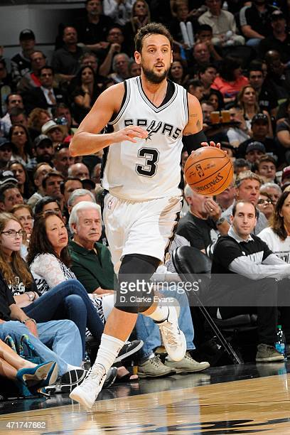 Marco Belinelli of the San Antonio Spurs handles the ball against the Los Angeles Clippers in Game Six of the Western Conference Quarterfinals at the...