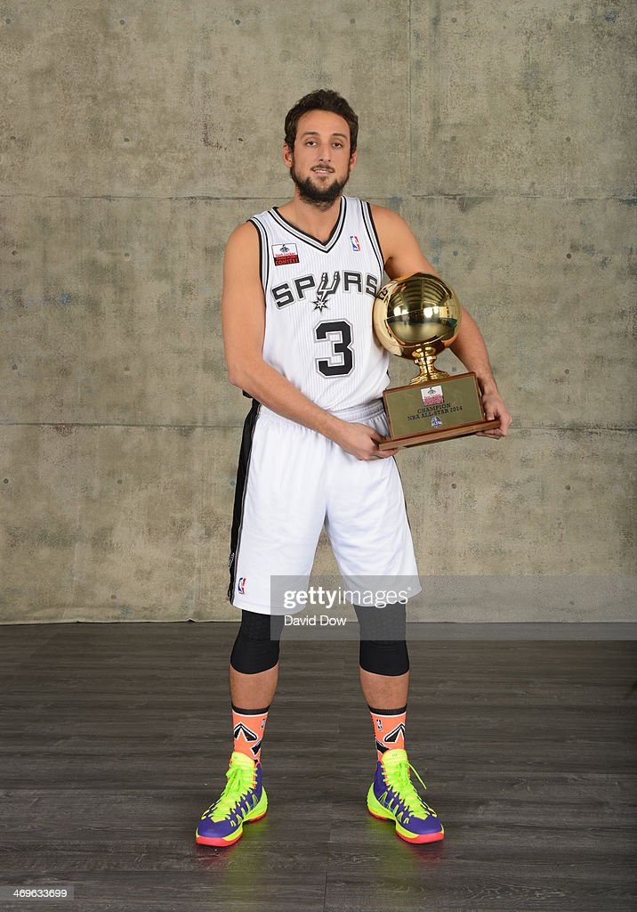 Marco Belinelli #3 of the San Antonio Spurs poses for a portrait after winning the Foot Locker Three-Point Contest in the 2014 State Farm Saturday Night on February 15, 2014 at the Smoothie King Center in New Orleans, Louisiana.