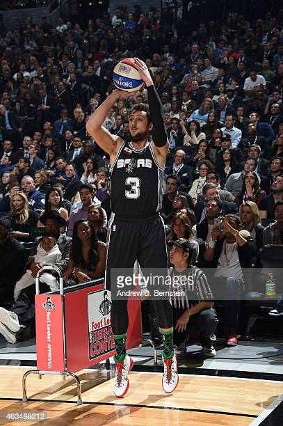 Marco Belinelli of the San Antonio Spurs shoots the ball during the Foot Locker Three Point Contest on State Farm AllStar Saturday Night as part of...