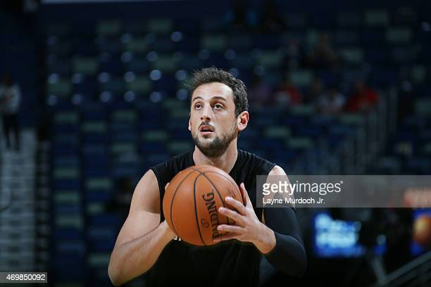 Marco Belinelli of the San Antonio Spurs warms up before the game against the New Orleans Pelicans during an NBA game on April 15 2015 at the...