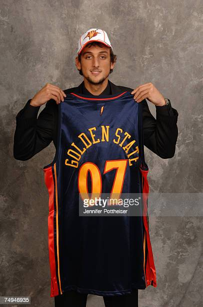 Marco Belinelli selected 18th overall by the Golden State Warriors poses for a portrait backstage during the 2007 NBA Draft at The WaMu Theatre at...