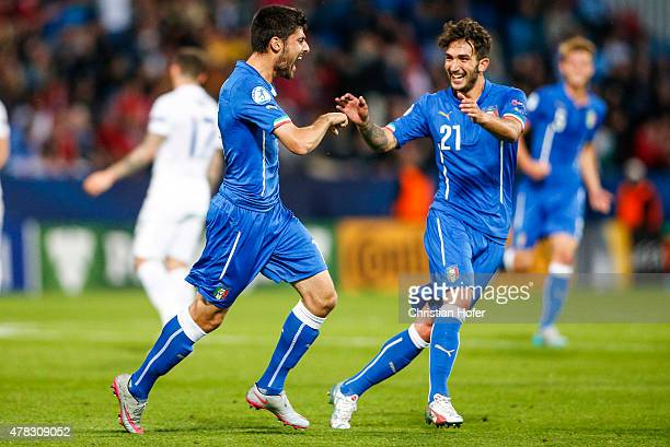 Marco Benassi and Danilo Cataldi of Italy celebrate after scoring during the UEFA Under21 European Championship 2015 match between England and Italy...