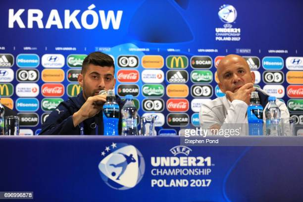 Marco Benassi Captain of Italy and Italy Head Coach Luigi Di Biagio speak during a Italy U21 Training Session and Press Conference at Stadium Krakow...