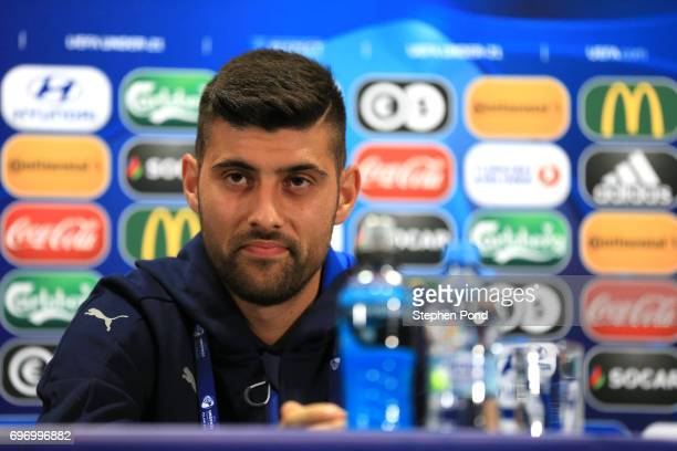 Marco Benassi Captain of Italy speaks during a Italy U21 Training Session and Press Conference at Stadium Krakow on June 17 2017 in Krakow Poland