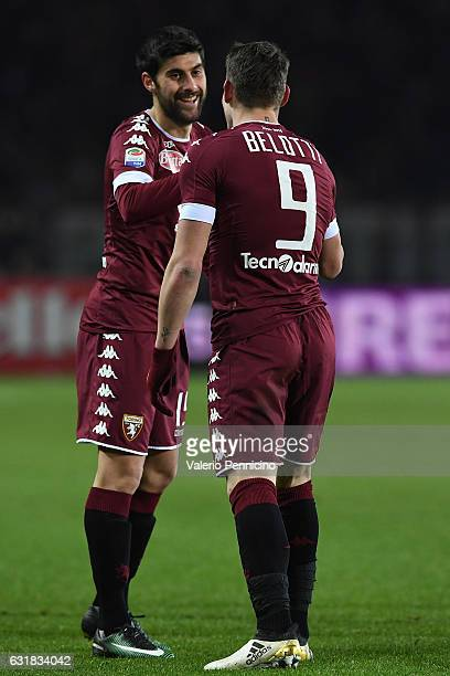 Marco Benassi of FC Torino celebrates a goal with team mate Andrea Belotti during the Serie A match between FC Torino and AC Milan at Stadio Olimpico...