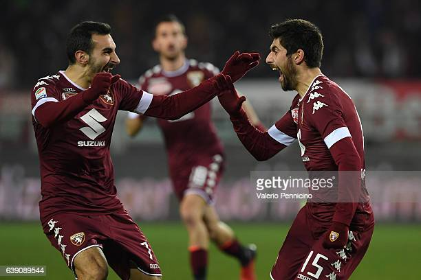 Marco Benassi of FC Torino celebrates a goal with team mate Davide Zappacosta during the Serie A match between FC Torino and AC Milan at Stadio...