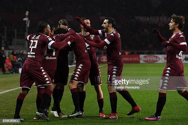 Marco Benassi of FC Torino celebrates a goal with team mates during the Serie A match between FC Torino and AC Milan at Stadio Olimpico di Torino on...