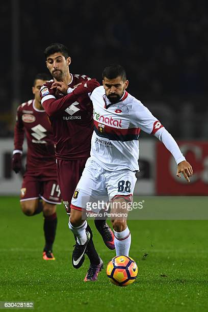 Marco Benassi of FC Torino competes with Tomas Rincon of Genoa CFC during the Serie A match between FC Torino and Genoa CFC at Stadio Olimpico di...