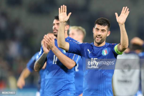 Marco Benassi of Italy celebrates victory after the 2017 UEFA European Under21 Championship Group C match between Italy and Germany at Stadion...