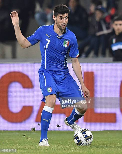 Marco Benassi of Italy in action during the international friendly match between Italy U21 and Serbia U21 at Stadio Ciro Vigorito on March 30 2015 in...