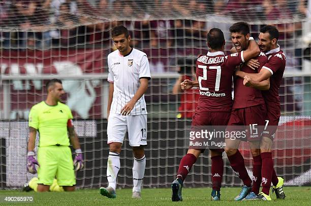 Marco Benassi of Torino celebrates after scoring his team's second goal during the Serie A match between Torino FC and US Citta di Palermo at Stadio...