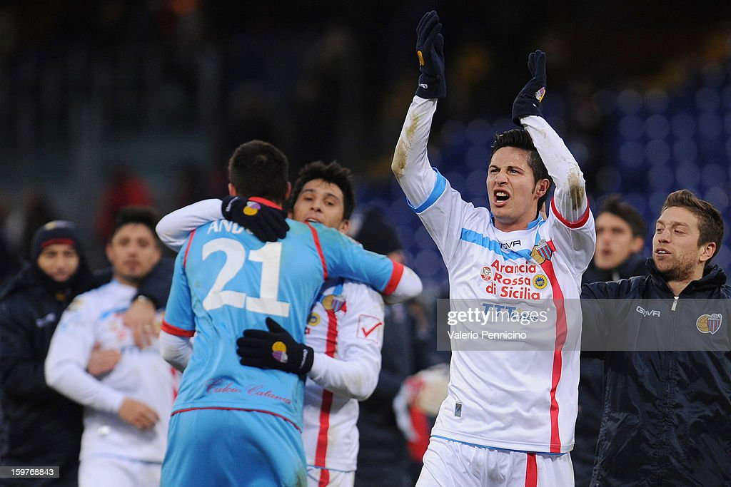 Marco Biagianti of Calcio Catania celebrates victory at the end of the Serie A match between Genoa CFC and Calcio Catania at Stadio Luigi Ferraris on January 20, 2013 in Genoa, Italy.