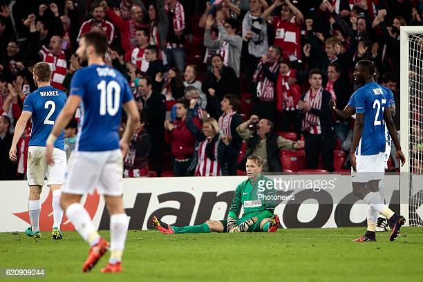 Marco Bizot goalkeeper of KRC Genk looks dejected pictured during the UEFA Europa League group F stage match between Athletic Club de Bilbao and KRC...
