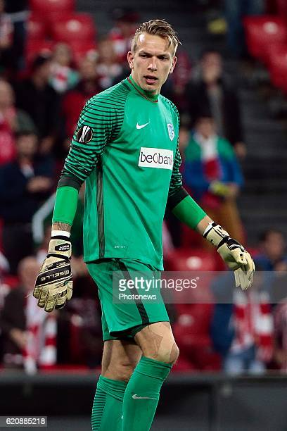 Marco Bizot goalkeeper of KRC Genk pictured during the UEFA Europa League group F stage match between Athletic Club de Bilbao and KRC Genk at the...