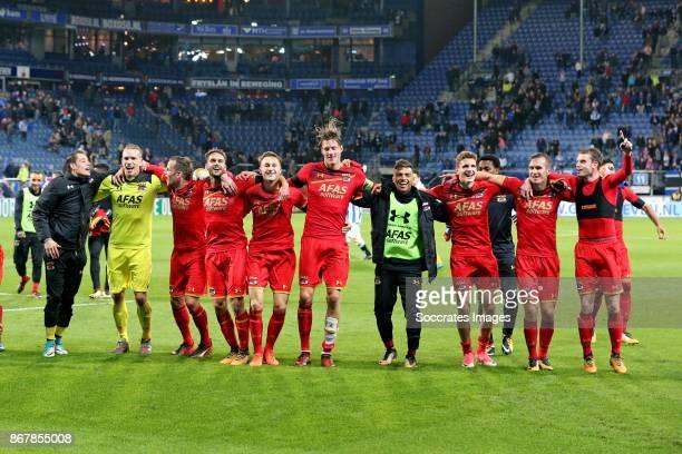*Marco Bizot* of AZ Alkmaar *Pantelis Hatzidiakos* of AZ Alkmaar *Jonas Svensson* of AZ Alkmaar *Wout Weghorst* of AZ Alkmaar *Guus Til* of AZ...