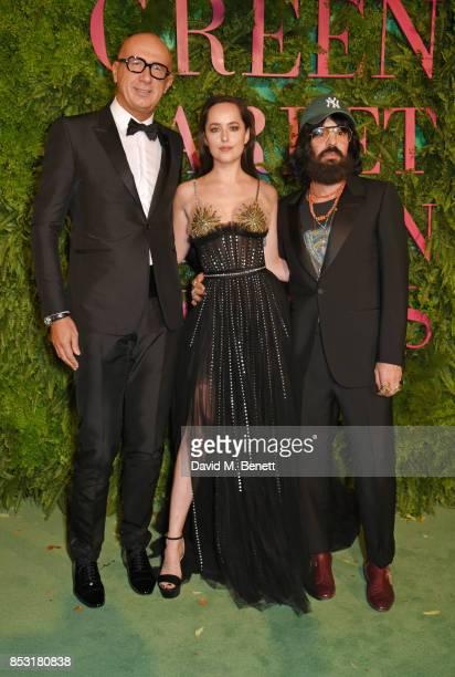 Marco Bizzarri Gucci President and CEO Dakota Johnson and Alessandro Michele Gucci Creative Director attend the Green Carpet Fashion Awards Italia...