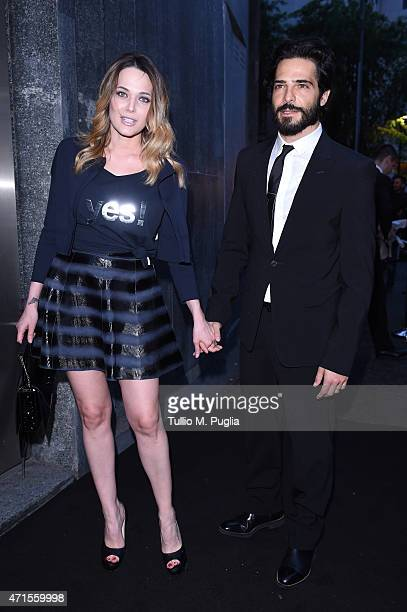 Marco Bocci and Laura Chiatti attend the Giorgio Armani 40th Anniversary Dinner Reception at Nobu on April 29 2015 in Milan Italy