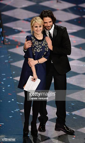 Marco Bocci and Luciana Littizzetto attend the opening night of the 64th Festival di Sanremo 2014 at Teatro Ariston on February 18 2014 in Sanremo...