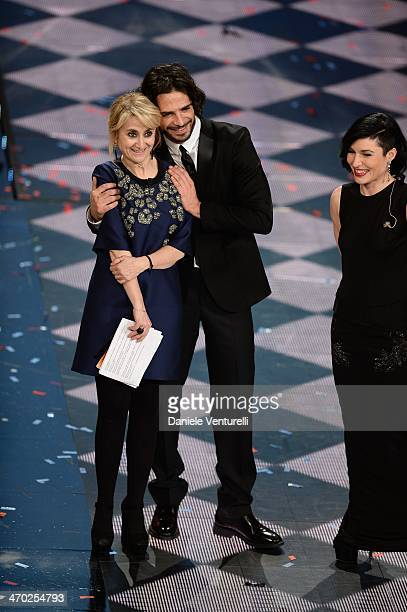 Marco Bocci Luciana Littizzetto and Giusy Ferreri attend the opening night of the 64th Festival di Sanremo 2014 at Teatro Ariston on February 18 2014...
