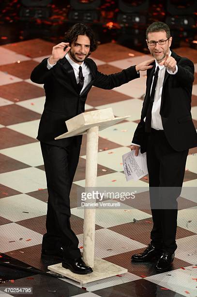 Marco Bocciand Fabio Fazio attend the opening night of the 64th Festival di Sanremo 2014 at Teatro Ariston on February 18 2014 in Sanremo Italy