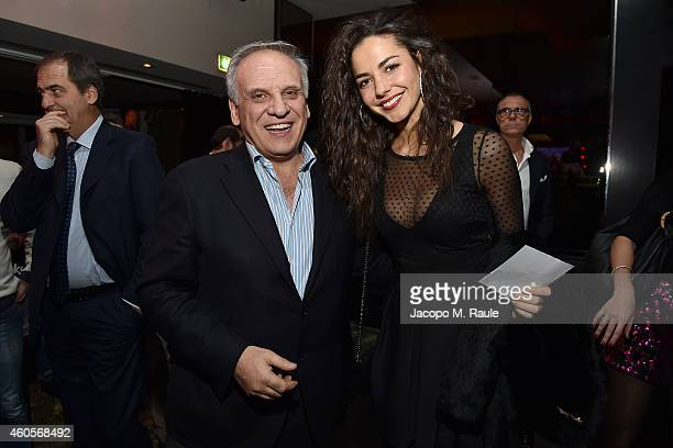 Marco Bogarelli and Laura Barriales attend Infront Christmas Party on December 16 2014 in Milan Italy