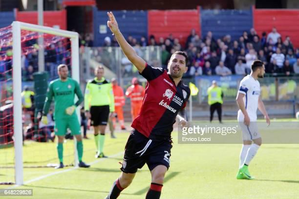 Marco Boriello of Cagliari celebrates his goal 12 during the Serie A match between Cagliari Calcio and FC Internazionale at Stadio Sant'Elia on March...