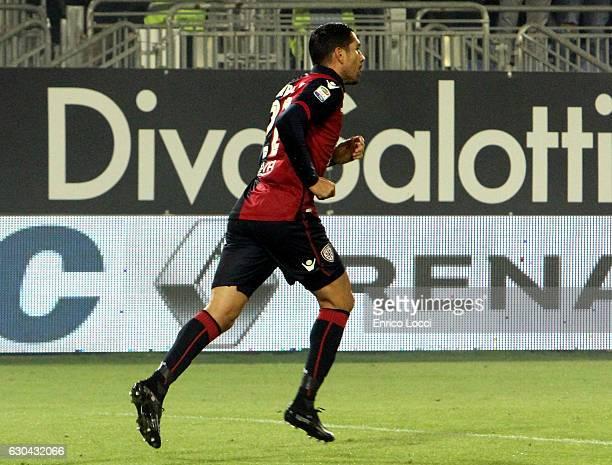 Marco Boriello of Cagliari celebrates the goal during the Serie A match between Cagliari Calcio and US Sassuolo at Stadio Sant'Elia on December 22...