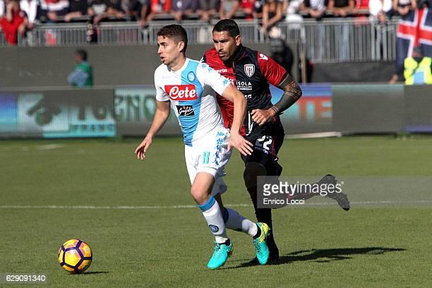Marco Boriello of Cagliari in action against Jorginho of Napoli during the Serie A match between Cagliari Calcio and SSC Napoli at Stadio Sant'Elia...