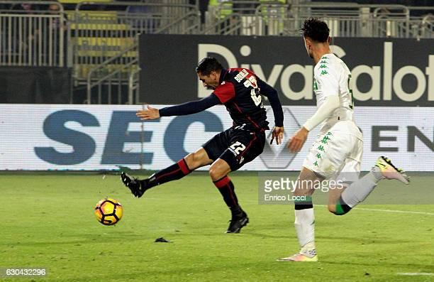 Marco Boriello of Cagliari scores the goa during the Serie A match between Cagliari Calcio and US Sassuolo at Stadio Sant'Elia on December 22 2016 in...