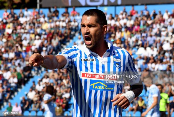 Marco Boriello of Spal reacts during the Serie A match between Spal and Cagliari Calcio at Stadio Paolo Mazza on September 17 2017 in Ferrara Italy
