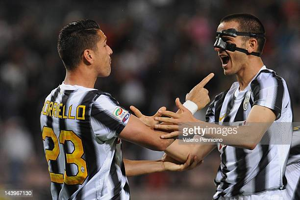 Marco Borriello and Leonardo Bonucci of Juventus FC celebrate after beating Cagliari Calcio 20 to win the Serie A Championships during the Serie A...