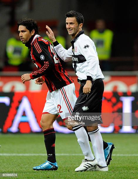 Marco Borriello of AC Milan and Christian Panucci of Parma FC during the Serie A match between AC Milan and Parma FC at at Stadio Giuseppe Meazza on...