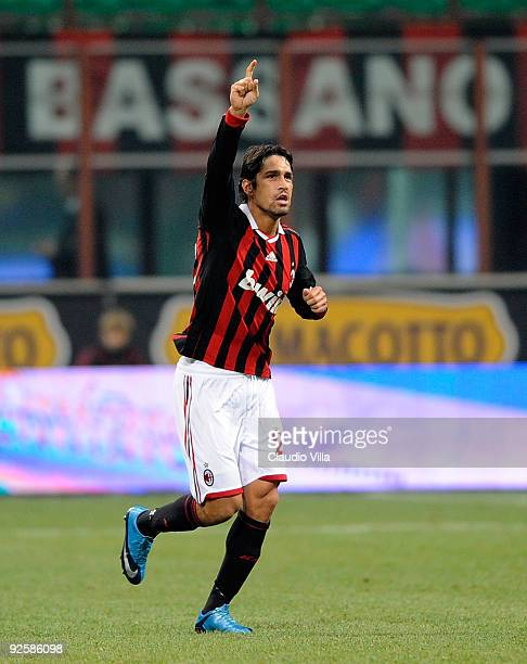 Marco Borriello of AC Milan celebrates after scoring the first goal during the Serie A match between AC Milan and Parma FC TEAM B at at Stadio...