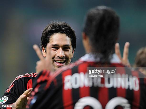 Marco Borriello of AC Milan celebrates after scoring the second goal during the Serie A match between AC Milan and Parma FC at the Stadio Giuseppe...