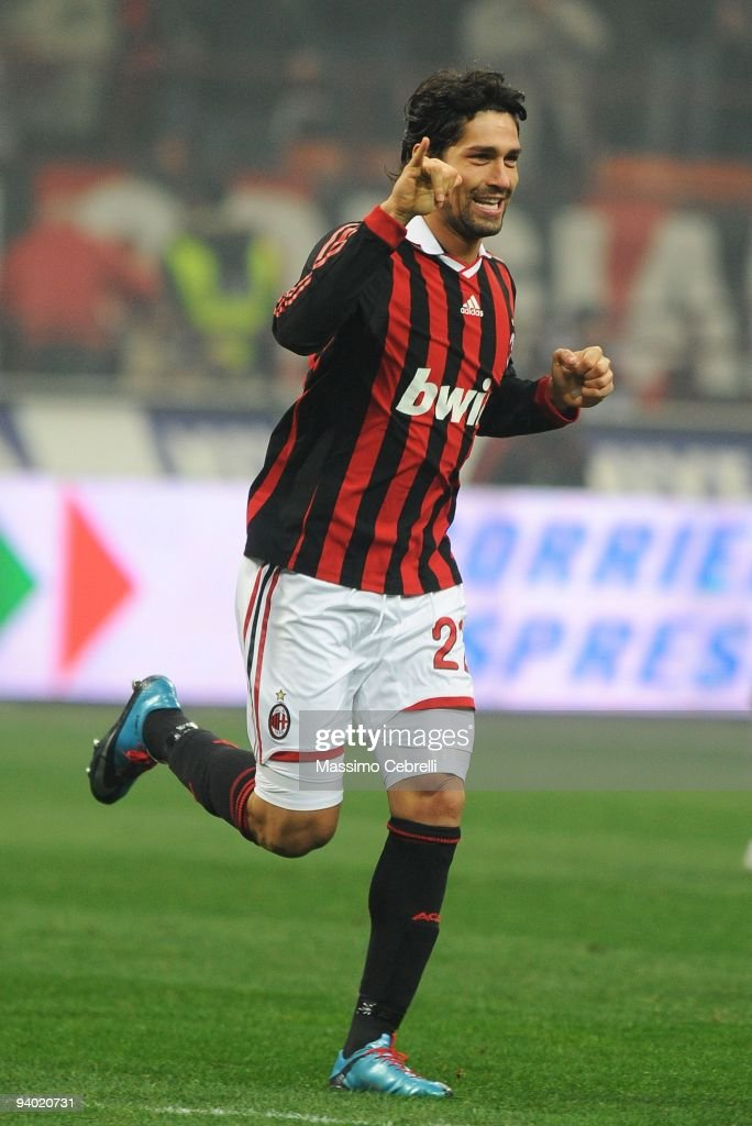 <a gi-track='captionPersonalityLinkClicked' href=/galleries/search?phrase=Marco+Borriello&family=editorial&specificpeople=709800 ng-click='$event.stopPropagation()'>Marco Borriello</a> of AC Milan celebrates his opening goal during the Serie A match between AC Milan and UC Sampdoria at Stadio Giuseppe Meazza on December 5, 2009 in Milan, Italy.