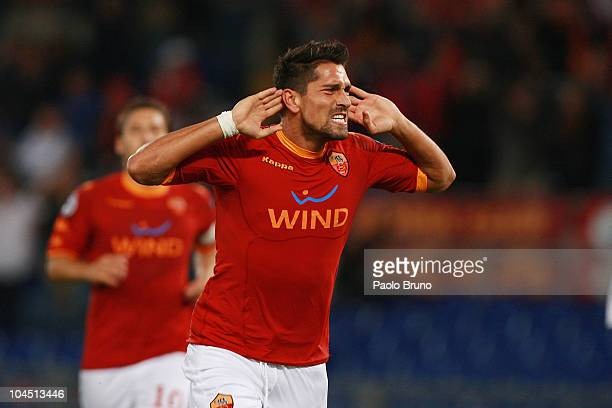 Marco Borriello of AS Roma celebrates after scoring his 20 goal during the UEFA Champions League group E match between AS Roma and CFR Cluj at Stadio...