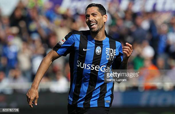 Marco Borriello of Atalanta BC celebrates after scoring the opening goal during the Serie A match between Atalanta BC and AC Chievo Verona at Stadio...