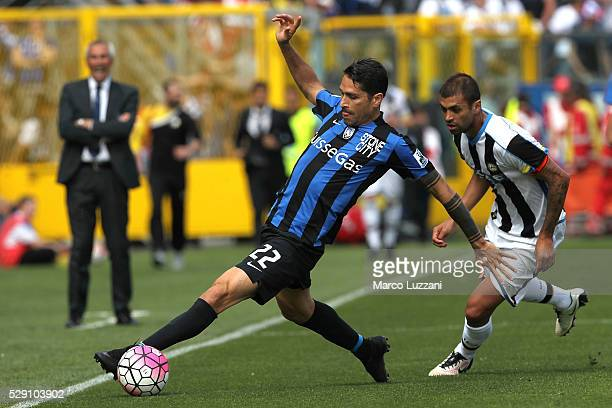 Marco Borriello of Atalanta BC is challenged by Danilo Larangeira of Udinese Calcio during the Serie A match between Atalanta BC and Udinese Calcio...
