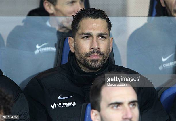 Marco Borriello of Atalanta BC sits on the bench before the Serie A match between Atalanta BC and US Sassuolo Calcio at Stadio Atleti Azzurri...