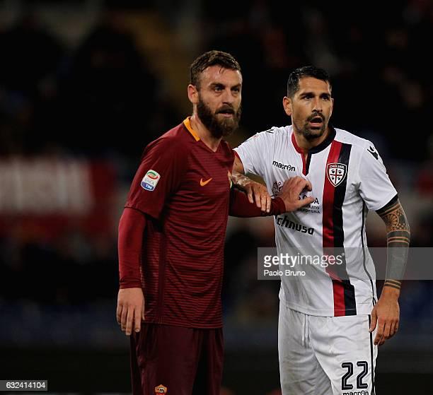 Marco Borriello of Cagliari Calcio and Daniele De Rossi of AS Roma look on during the Serie A match between AS Roma and Cagliari Calcio at Stadio...