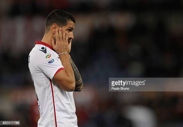 Marco Borriello of Cagliari Calcio reacts during the Serie A match between AS Roma and Cagliari Calcio at Stadio Olimpico on January 22 2017 in Rome...